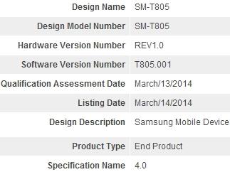 Samsung-SM-T805-Bluetooth-SIG