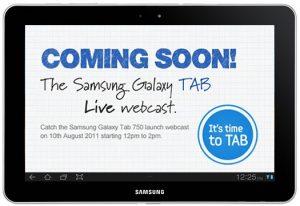 Transmisión web en vivo del evento de lanzamiento de Samsung Galaxy Tab 750
