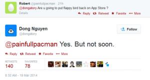 Tweets del creador de Flappy Bird: la aplicación vuelve con advertencias;  tomará algo de tiempo