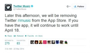 Twitter mata su aplicación #Music en iOS
