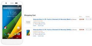 Variante Moto G LTE con un precio de $ 220 vista en Amazon