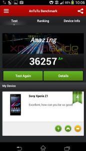 Variantes de la puntuación de Sony Xperia Z1 en el rango de 35K en AnTuTu Benchmarks