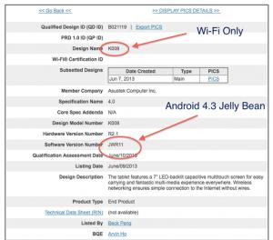 Versión renovada de Nexus 7 en FCC con Android 4.3