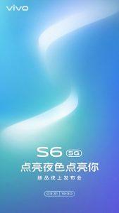 Vivo S6 5G con cámaras duales para selfies se lanzará el 31 de marzo