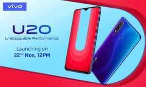 Vivo U20 impulsado por el chipset Snapdragon 675 está listo para lanzarse en India el 22 de noviembre