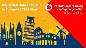 Vodafone ofrece roaming internacional ilimitado en Europa a ₹ 180 / día