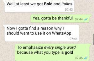WhatsApp ahora permite a los usuarios formatear mensajes en negrita y cursiva