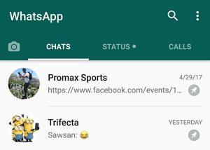 WhatsApp ahora te permite fijar chats en la parte superior