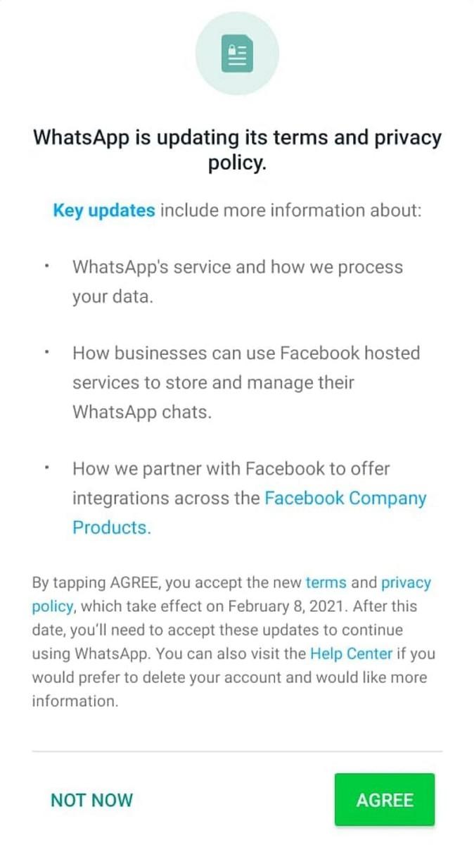 Política de privacidad actualizada de WhatsApp