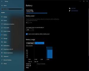 Windows 10 para obtener una nueva herramienta para verificar el uso de la batería en Configuración