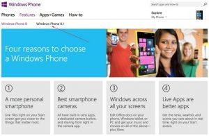Windows Phone 8.1 recibe una mención en el sitio web oficial