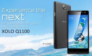 XOLO Q1100 con procesador Snapdragon 400 que figura en el sitio web de la empresa para Rs.  14999