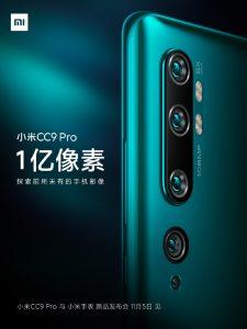 Xiaomi Mi CC9 Pro con cámara de 108 MP se lanzará en China el 5 de noviembre