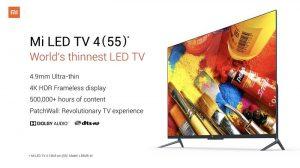 Xiaomi Mi LED TV 4 con pantalla sin marco 4K HDR lanzado en India