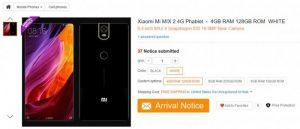 Xiaomi Mi Mix 2 listado en línea en China