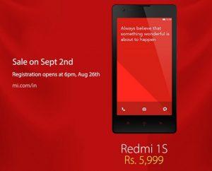 Xiaomi Redmi 1s saldrá a la venta en India el 2 de septiembre por Rs.  5999