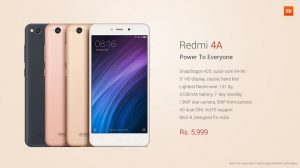 Xiaomi Redmi 4A con Snapdragon 425 SoC, 2 GB de RAM y batería de 3120 mAh lanzado en India por ₹ 5999