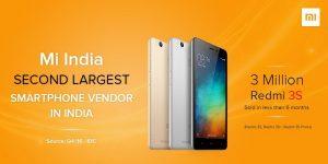 Xiaomi vendió 3 millones de teléfonos inteligentes de la serie Redmi 3S en India, se convierte en el segundo proveedor de teléfonos inteligentes más grande del país