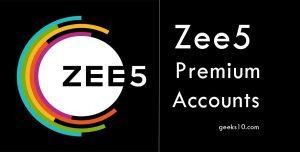 Cuentas y contraseñas gratuitas Zee5 Premium 2021