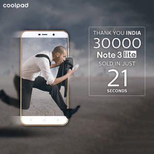 Coolpad vendió 30000 Note 3 Lite en la primera venta flash en Amazon India