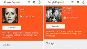 Google Play Music se muestra para algunos usuarios en India