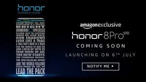 Honor 8 Pro con cámaras traseras duales y 6 GB de RAM que se lanzará en India el 6 de julio exclusivamente a través de Amazon