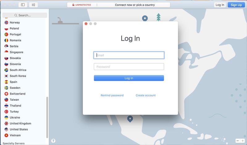 Inicie sesión en la aplicación VPN