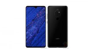 Huawei Mate 20 muestra una fuga en línea mostrando la muesca de la gota de agua y las cámaras traseras triples