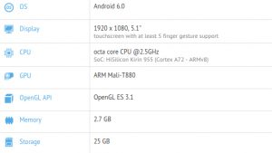 Huawei P9 visto en GFXBench con Kirin 955 SoC y 3 GB de RAM