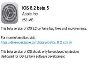 iOS 8.2 beta 5 se lanza a los desarrolladores