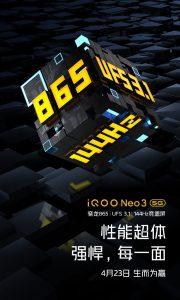 iQOO Neo3 5G se lanzará el 23 de abril en China