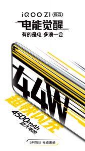 iQOO Z1 5G confirmado para incluir una batería de 4500 mAh y soporte de carga rápida de 44 W