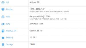 LeEco Le 2 visto en GFXBench con Helio X25 SoC y 3 GB de RAM