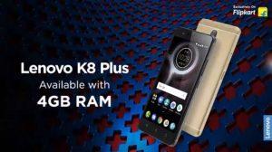 La variante Lenovo K8 Plus 4 GB RAM ahora está disponible en India