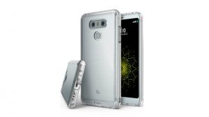 La lista de Amazon de las fundas LG G6 muestra la parte posterior de metal cepillado del dispositivo