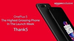 OnePlus 5 se convierte en el teléfono inteligente con mayores ingresos en la semana de lanzamiento en Amazon India