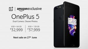 OnePlus 5 saldrá a la venta en India el 27 de junio a través de Amazon