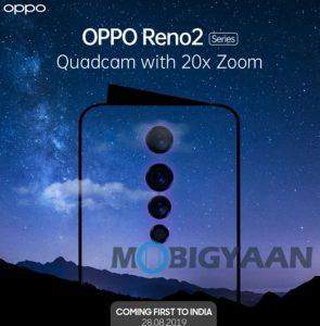 Lanzamiento de la serie Oppo Reno2 en India el 28 de agosto