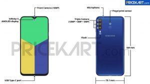 Especificaciones y superficie de diseño del Samsung Galaxy M30 en línea