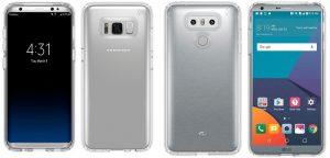 Imágenes de Samsung Galaxy S8 y LG G6 aparecen en línea con las carcasas puestas, faltan las esquinas redondeadas de la pantalla en el G6