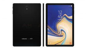Presione render de Samsung Galaxy Tab S4 filtrado en línea con biseles recortados
