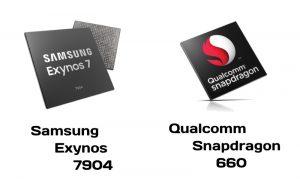 Samsung Exynos 7904 vs Qualcomm Snapdragon 660 - ¿Cuál es un mejor chipset de rango medio?