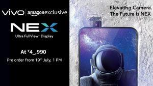 Vivo NEX se venderá exclusivamente a través de Amazon en India, los pedidos anticipados comienzan a partir del 19 de julio