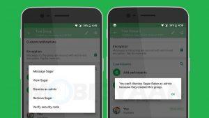 WhatsApp comienza a implementar la función 'Descartar como administrador' para usuarios de Android e iOS