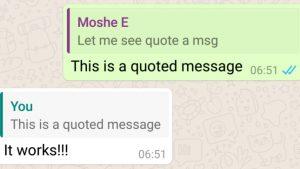 WhatsApp Beta versión 2.16.118 para Android le permite citar mensajes mientras responde