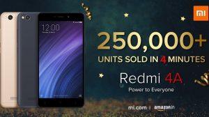 Xiaomi vendió más de 250,000 unidades de Redmi 4A en 4 minutos en la venta de hoy en India