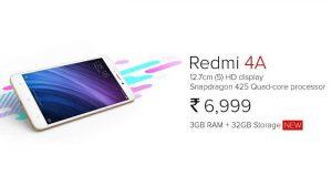 Xiaomi lanza 3 GB de RAM, variante de almacenamiento de 32 GB de Redmi 4A en India por ₹ 6999